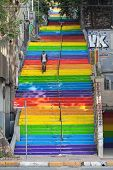 Rainbow Steps In Bohemian Neighborhood