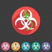 Ebola biohazard flat icon badge