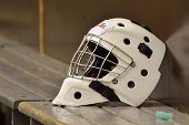 stock photo of hockey arena  - Hockey goalie helmet - JPG