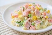 Pasta Salad With Ham And A Variety Of Vegetables