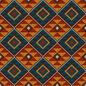 stock photo of aztec  - Vector illustration of seamless tribal knitted wool aztec design pattern - JPG
