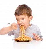 Little Boy Is Eating Spaghetti