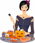 Illustration Featuring a Woman Preparing Halloween Candies