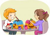 Illustration Featuring a Boy and a Girl Painting Pumpkins