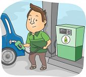 Illustration Featuring a Man Filling His Car's Tank with Biofuel