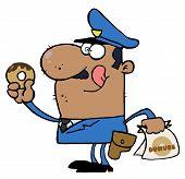 Hungry Afroamerikaner Cop seine Lippen lecken und halten ein donut