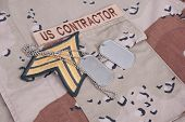 Us Contractor Uniform With Dog Tags And Sergeant Rank Patch
