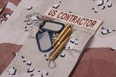 Us Contractor Uniform With Dog Tags And Cartridges
