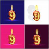 the number nine in the form of a burning candle