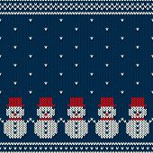 Winter Holiday Seamless Knitted Pattern With Snowmans