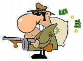 Gangster Man with his Gun and Bag of Money