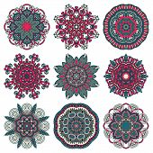 Circle lace ornament, round ornamental geometric doily pattern c