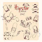 Hipster sketch set