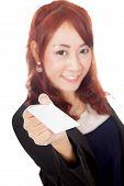 Asian Office Girl Show Blank Card Focus On The Card