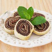 Bolo De Rolo (swiss Roll, Roll Cake) Brazilian Chocolate Dessert With Mint