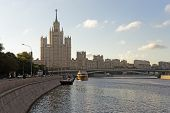 Moscow City Center Highrise Tower On The Sunrise And Yacht Saimoscow City Center Highrise Tower On T