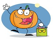 Cartoon character pumkin with bag