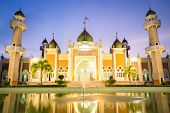 Central mosque with reflection at dusk, Pattani, Thailand