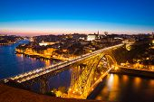 picture of dom  - Dom Luiz bridge in Porto Portugal at dusk - JPG