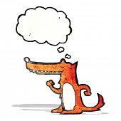 cartoon long nose fox with thought bubble