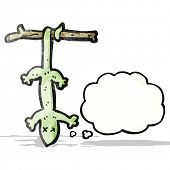 cartoon dead lizard with thought bubble