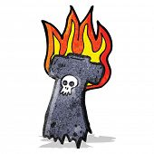 burning old skull tee cartoon