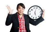 Asian Man Very Happy Finish Work At Five