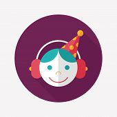 Birthday Party Flat Icon With Long Shadow,eps10