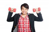 Asian Man Hold Red Dumbbells With Both Hands And Smile