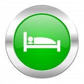 hotel green circle chrome web icon isolated