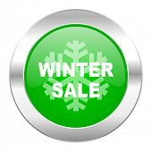 winter sale green circle chrome web icon isolated