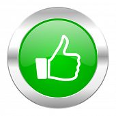 thumbs up green circle chrome web icon isolated