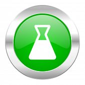 laboratory green circle chrome web icon isolated
