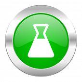 laboratory green circle chrome web icon isolated