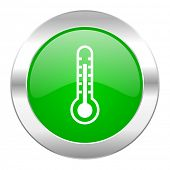 thermometer green circle chrome web icon isolated