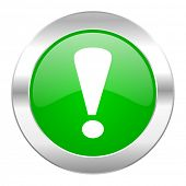 exclamation sign green circle chrome web icon isolated