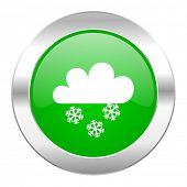 snowing green circle chrome web icon isolated