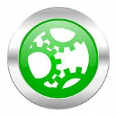 gear green circle chrome web icon isolated