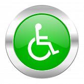 wheelchair green circle chrome web icon isolated