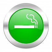 cigarette green circle chrome web icon isolated