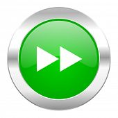rewind green circle chrome web icon isolated
