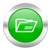 folder green circle chrome web icon isolated