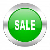 sale green circle chrome web icon isolated