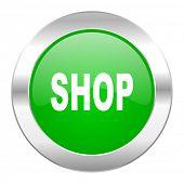 shop green circle chrome web icon isolated