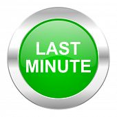 last minute green circle chrome web icon isolated