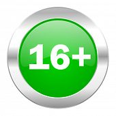 adults green circle chrome web icon isolated