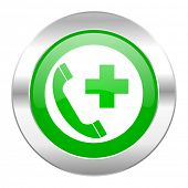 emergency call green circle chrome web icon isolated