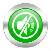 mute green circle chrome web icon isolated