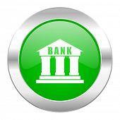 bank green circle chrome web icon isolated