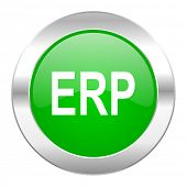erp green circle chrome web icon isolated